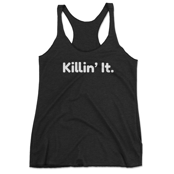 Killin' It Cute Workout Tank Top With Sayings - Black