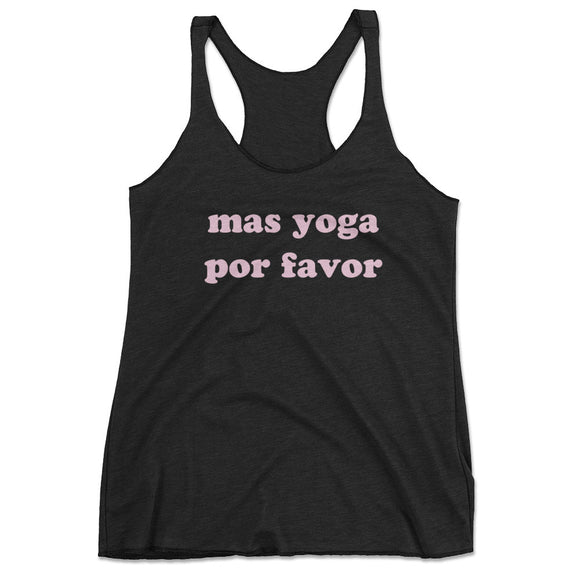 Women's Mas Yoga Por Favor Racerback Tank Top - Black
