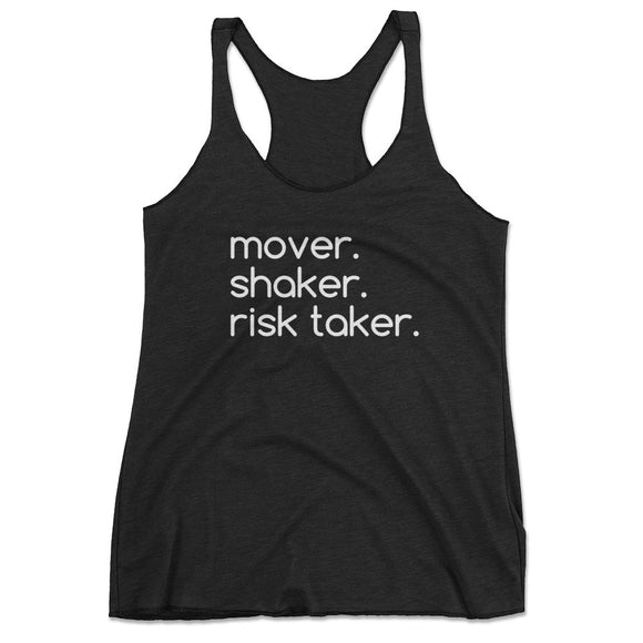 Women's Mover Shaker Risk Taker Workout Tank Top - Black
