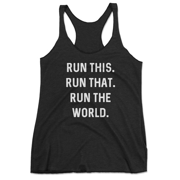 Women's Run The World Running Workout Tank Top - Black