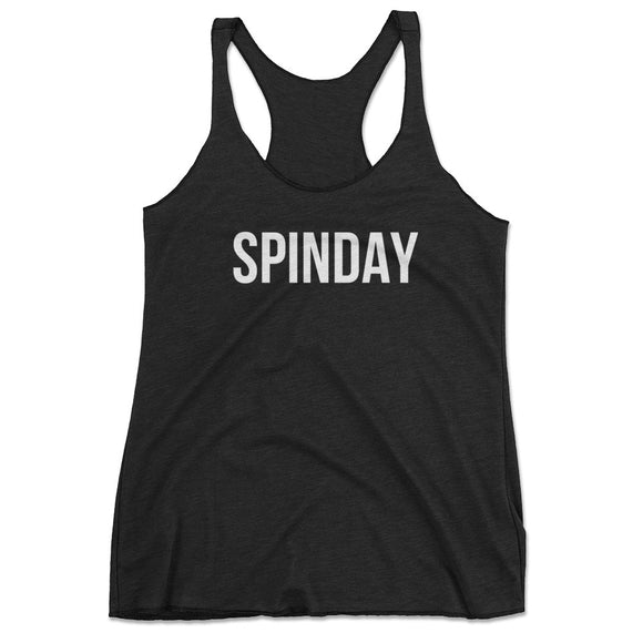 black spinday tank top, womens spinning tank top, cute spinning tank, funny cycling shirt, cycling tank top, spin class tank top, spin class top