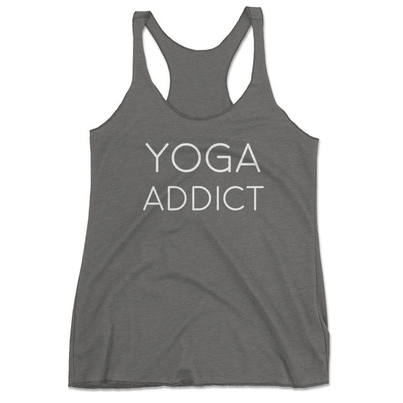 Women's Yoga Addict Workout Racerback Tank Top - Gray