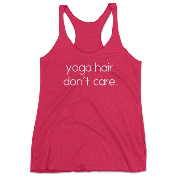 Women's Yoga Hair Don't Care Funny Workout Tank Top - Pink