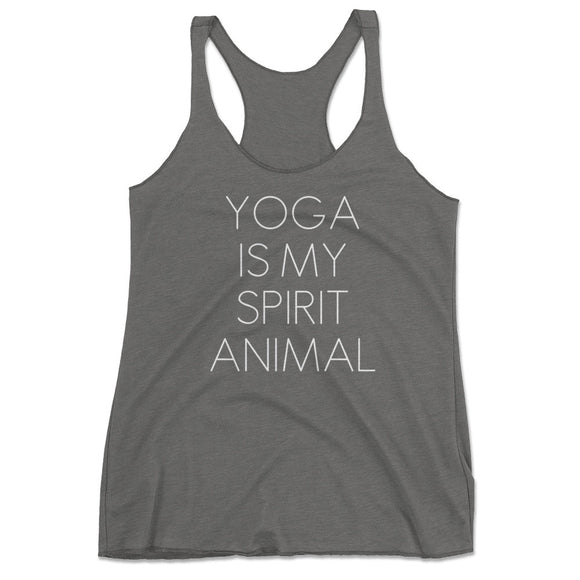 Women's Yoga Is My Spirit Animal Tri-Blend Racerback Tank Top - Gray