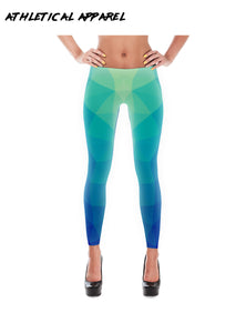 Blue Geometric Pattern Leggings