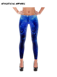 Women's Blue Water Spandex Leggings