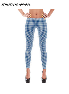 Women's Blue Gingham Slim Leggings