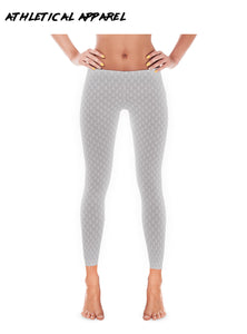 Gray Fleur Pattern Slim Leggings
