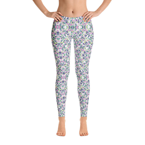 Geometric Floral Pattern Colorful Spandex Workout Leggings