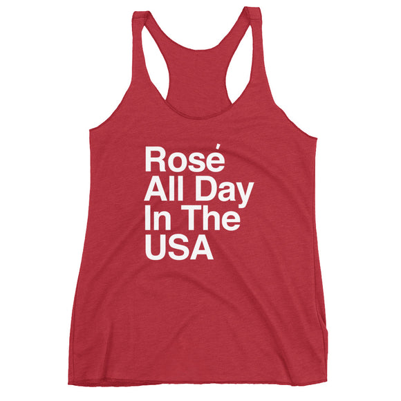 rose all day in the usa funny wine tank top for women
