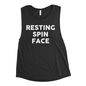resting spin face funny spinning tank top for women