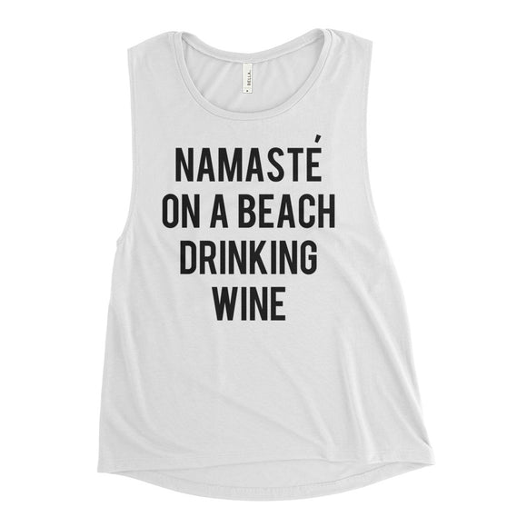 Namaste On A Beach Muscle Tank Top
