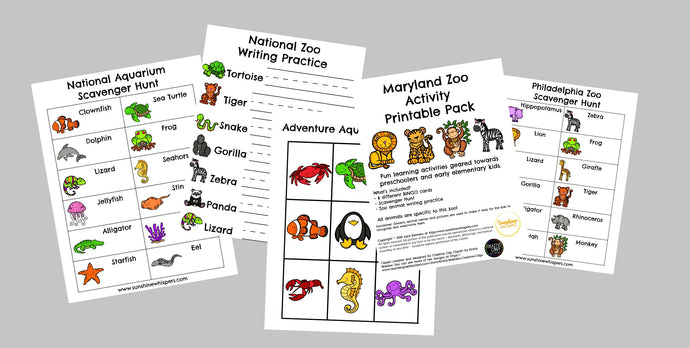 DC-MD-PA Zoo and Aquarium Activity Printable Pack Bundle