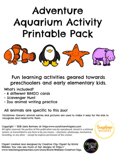 Adventure Aquarium Activity Printable Pack