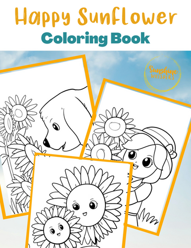 Happy Sunflowers Coloring Book