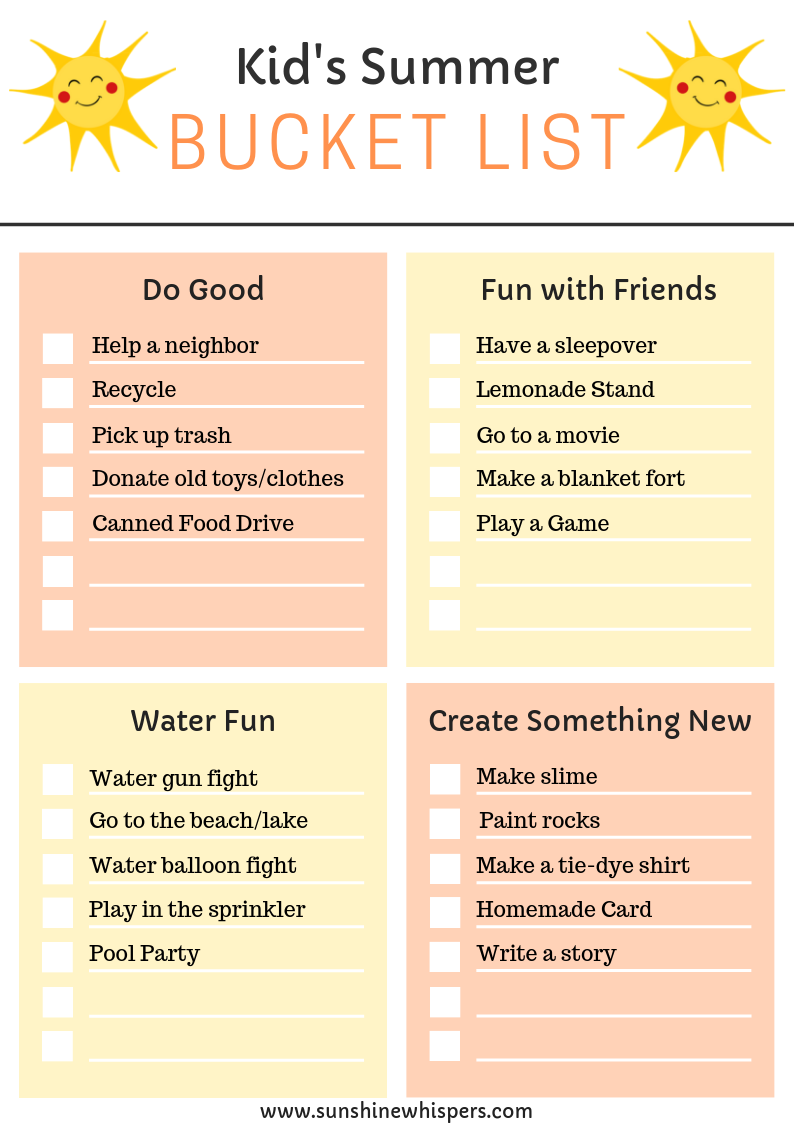 Family Summer Bucket List Planner
