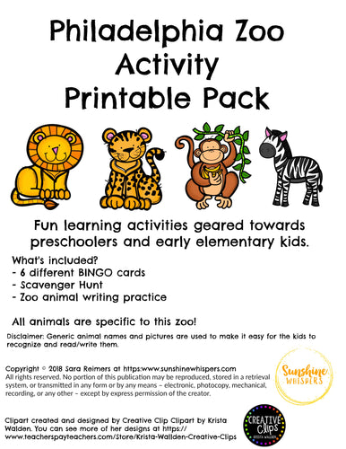 Philadelphia Zoo Activity Printable Pack
