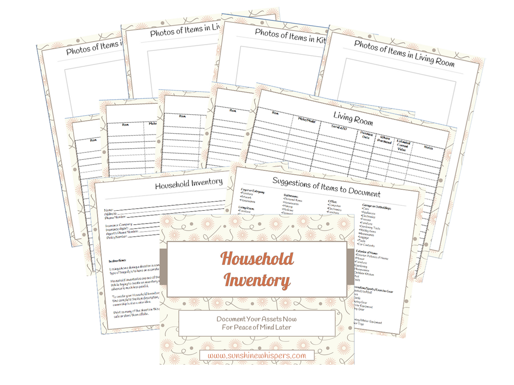 Household Inventory Printable Workbook