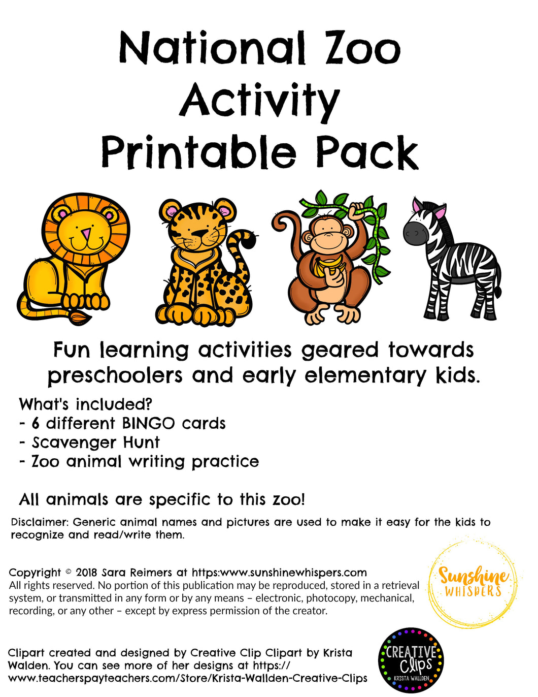 National Zoo Activity Printable Pack