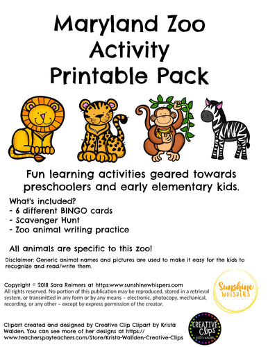 Maryland Zoo Activity Printable Pack