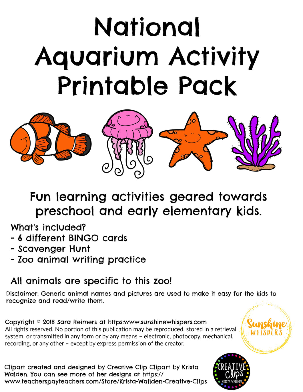 National Aquarium Activity Printable Pack