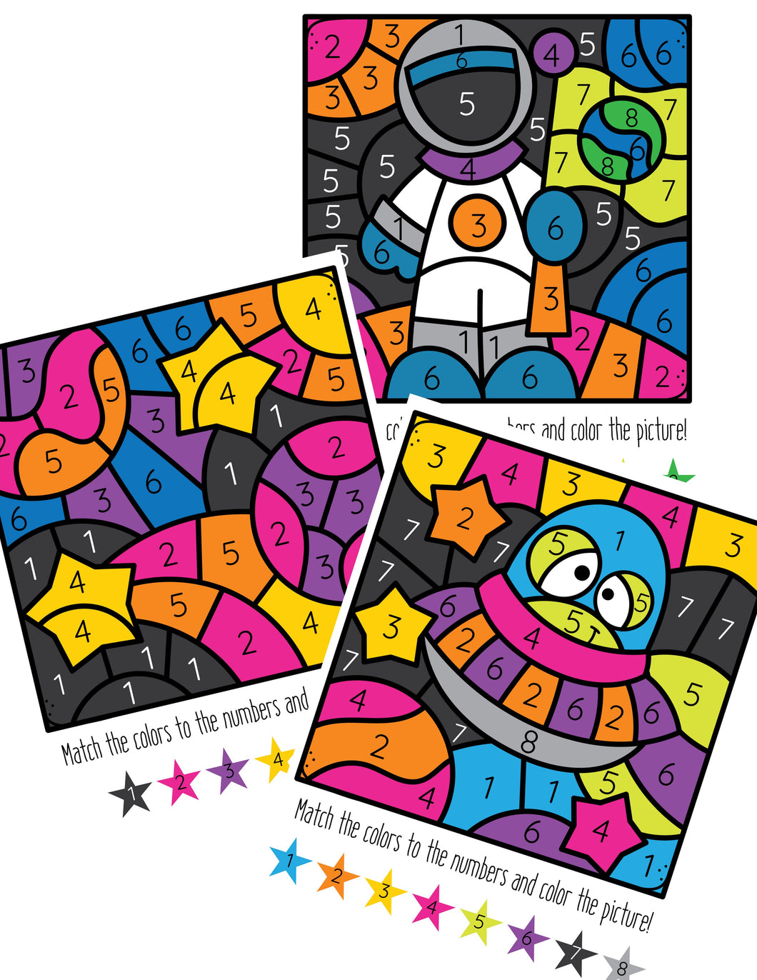 Outer Space Color By Number Coloring Pages