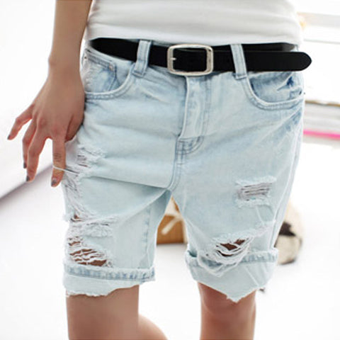 Shorts Women 2016 Fashion Dog Embroidery Pocket Ladies Jeans Vintage Trousers Women Hole Denim Short Pants S/M/L/XL