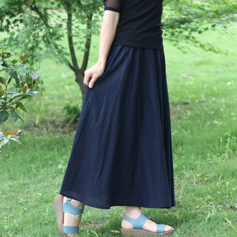Beand Summer 10 Colors Cotton Linen Pleated Casual Long Skirt Plus Size Solid Bohemian Beach Maxi Skirts Women Saia Longa