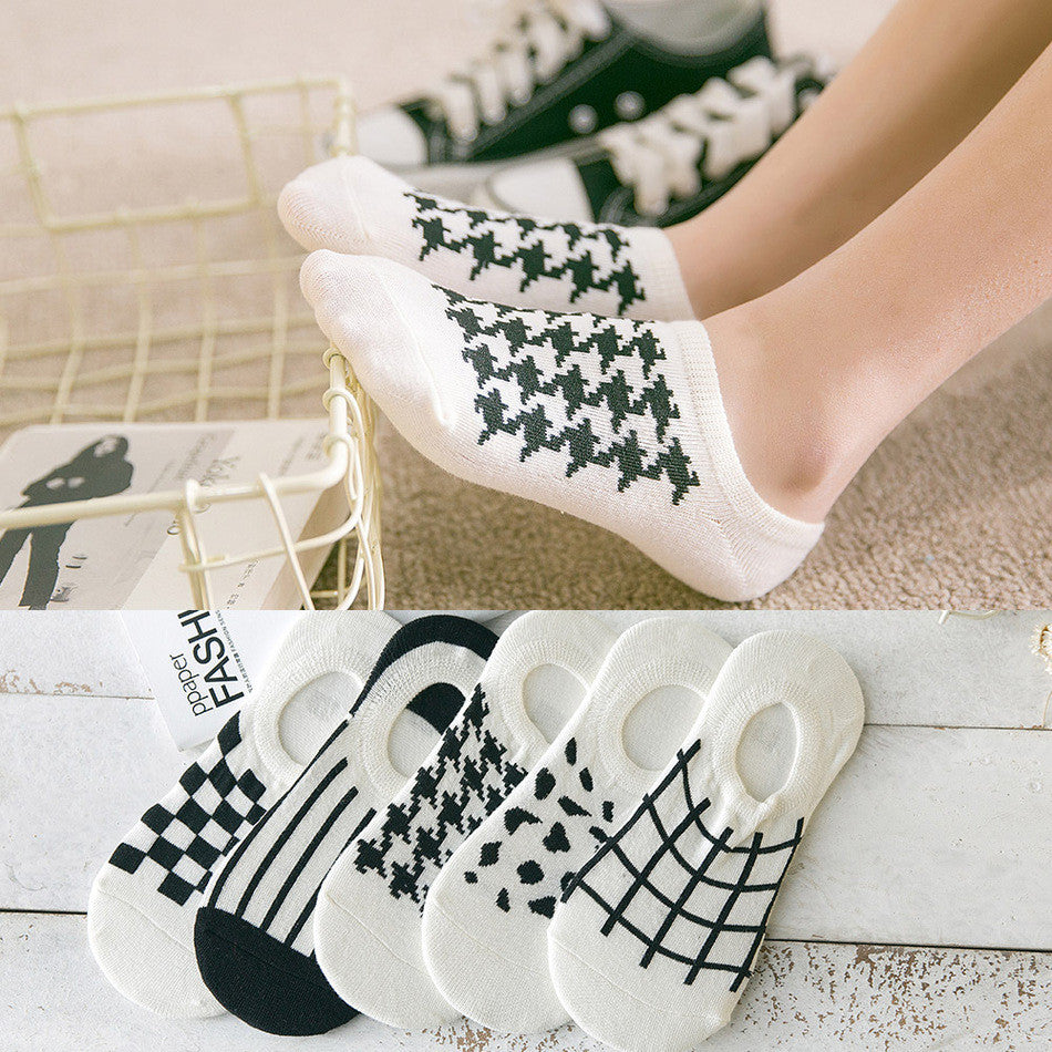 5 styles Invisible Socks Silica Gel Pure Cotton Woman Socks Female