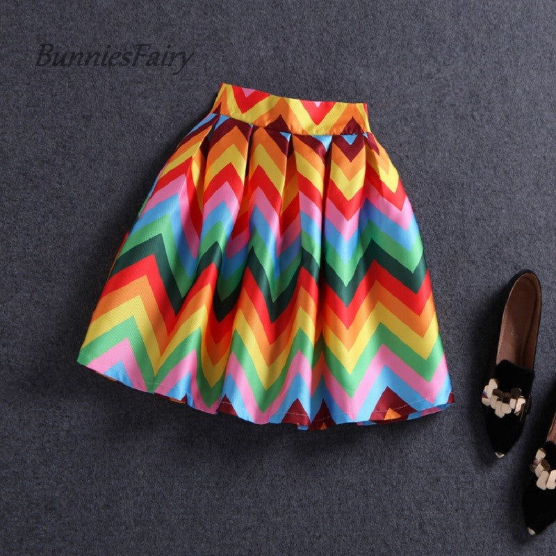 BunniesFairy 2016 Girls Cute Striped Colorful Rainbow Floral Print
