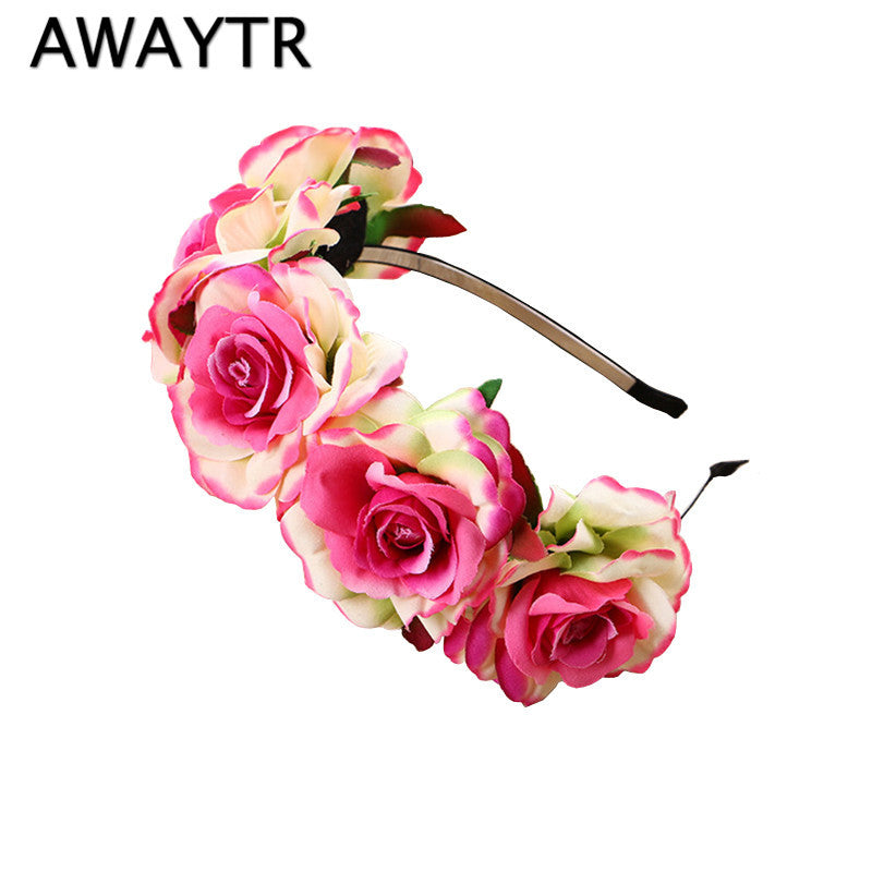 AWAYTR New 2017 Spring Summer Flower Crown Wedding for Women Bohemia