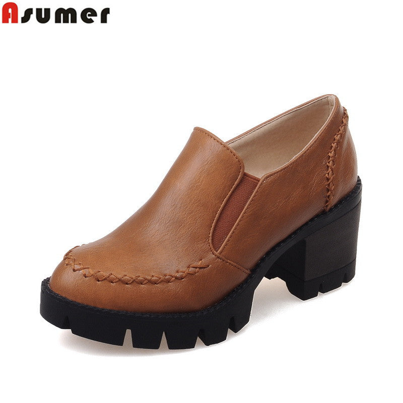 ASUMER Plus size 34-43 new fashion slip on women pumps high quality