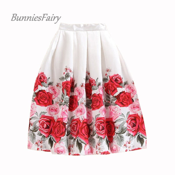 BunniesFairy 2016 Summer Style Elegant Vintage Romantic Pink Multicolor Rose Flower Floral Print High Waist Puff Pleated Skirt
