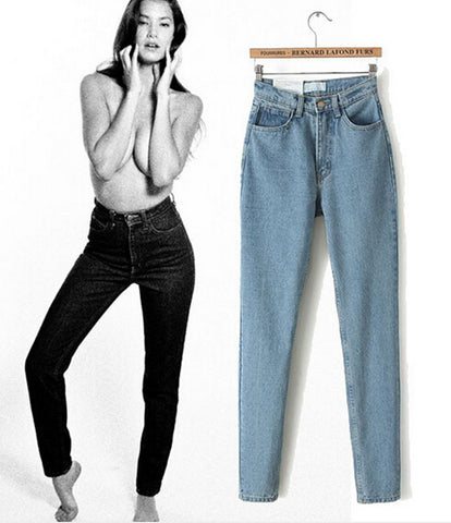 American Apparel AA Street Fashion Lady Retro High Waist Denim Jeans Harem Pants Trousers Legging 2015 New Listing Winter 2Color