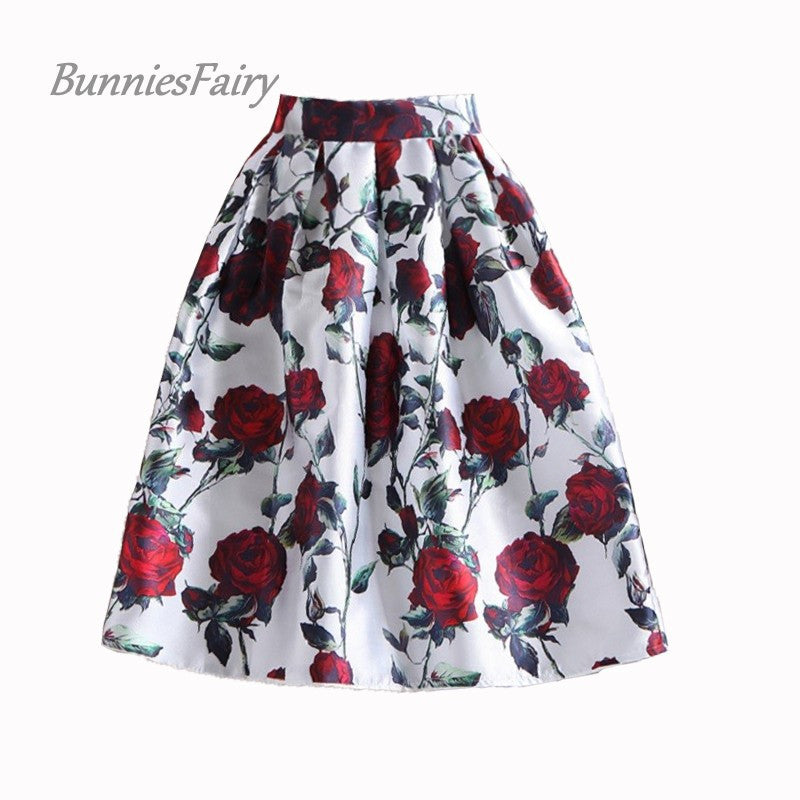 BunniesFairy 50s Vintage Woman Retro Red Rose Flower Bouquet Floral