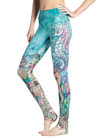 Blue Underwater World 3D Print Hippocampus Exercise Leggings For Women Sexy Slim Nine Yuga Pants Skinny Sporting Clothes Leggins