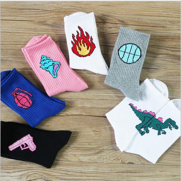70% Cotton Patterned Design Flame Bomb Baseball Harajuku Cool  Socks