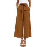 SMOVES Women's Vintage Loose Fit Bow Tie High Waisted Casual Ankle-Length Wide Leg Pants Pockets Trousers Size S-XL New P177