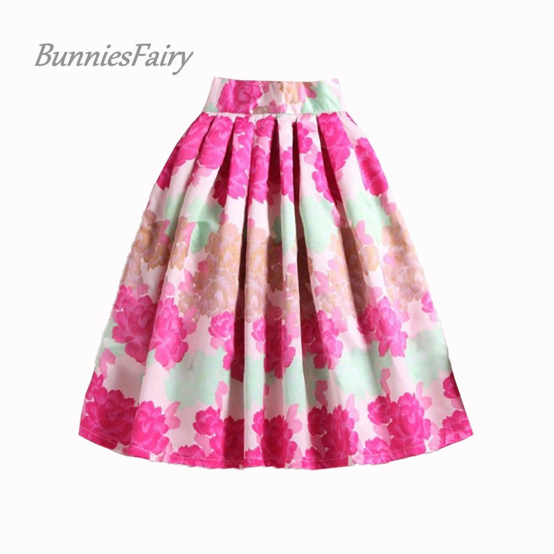 BunniesFairy Sweet Princess Style Girls Pink Flower Print Female