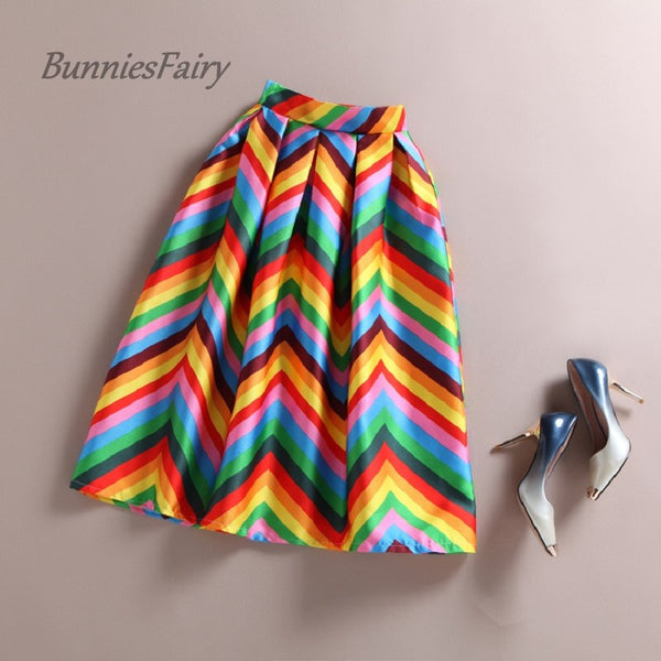 BunniesFairy Long Summer Girls Cute Striped Colorful Rainbow Print High Waist Pleated Midi Skirt Saia Femininas Vacation Holiday