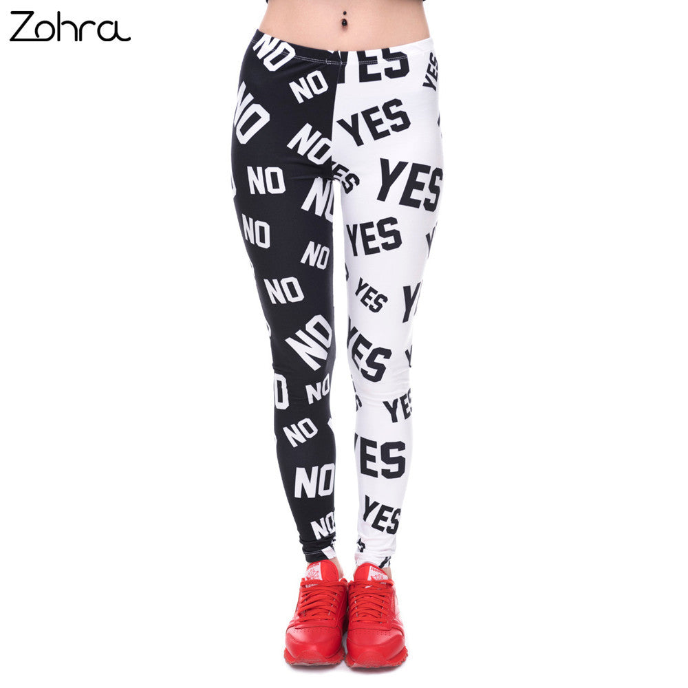 Zohra Womens Fashion Elasticity Yes and No Printed Slim fit Legging