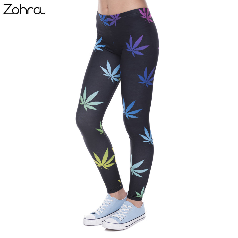 Zohra New Arrival Legging Color Weeds Printed leggins for Women
