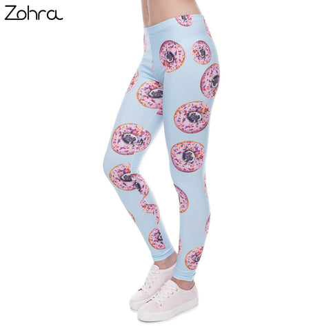 Zohra New arrival Women Leggings Trousers Donuts with pugs Print Legging Blue Leggins Slim High elasticity Legins Womens Pants