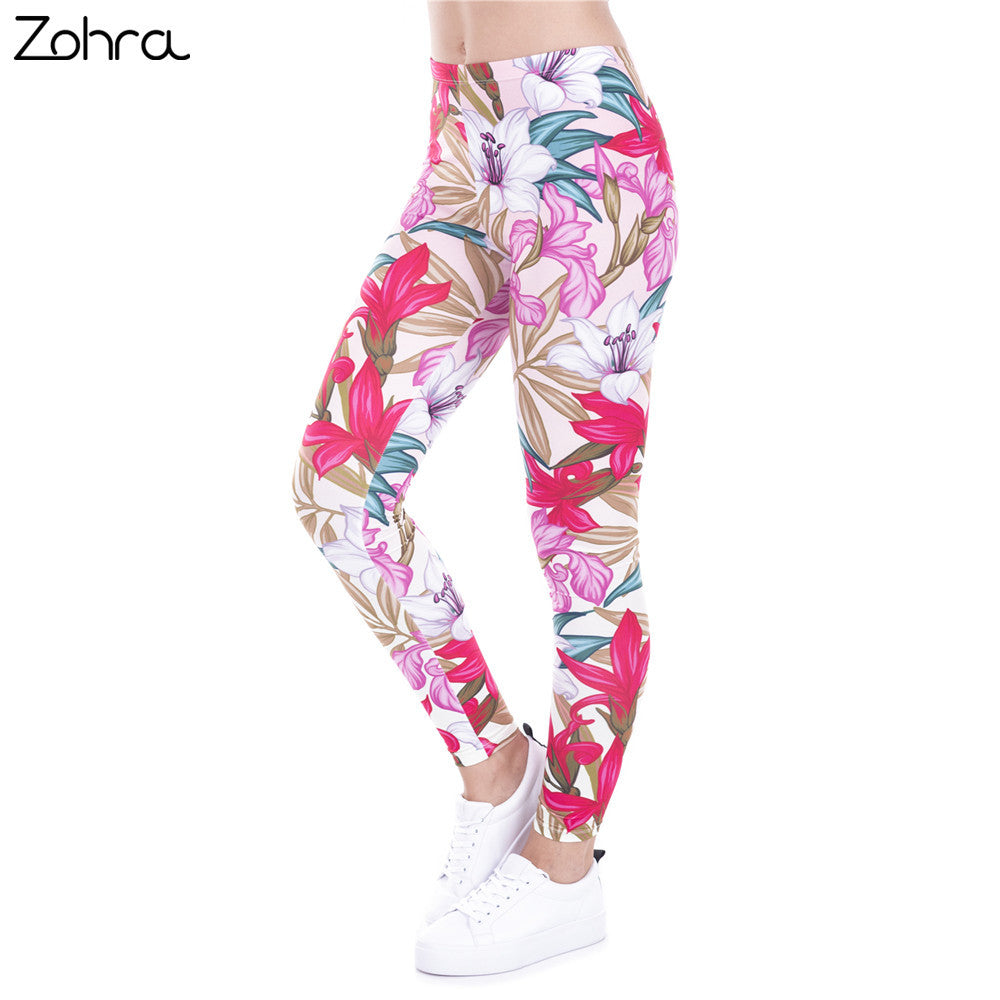 Zohra New Arrival legins Design Paradise Flowers Printed leggins Women