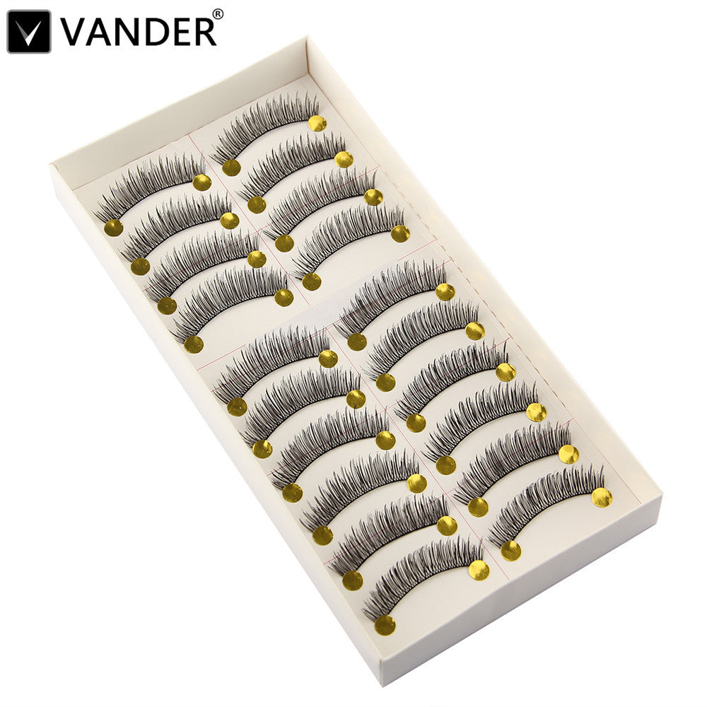 Beauty 10 Pairs Handmade Natural Long Thick Black False Eyelashes Fake