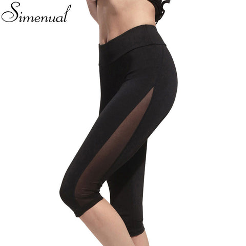 Athleisure 2017 summer women leggings hot sale mesh splice fitness calf-length cropped legging fashion new 2016 slim clothing
