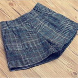 New Autumn winter Woolen Shorts women fashion 3 colors plaid pattern stretch Waist warm tweed short pants retail Loose D017