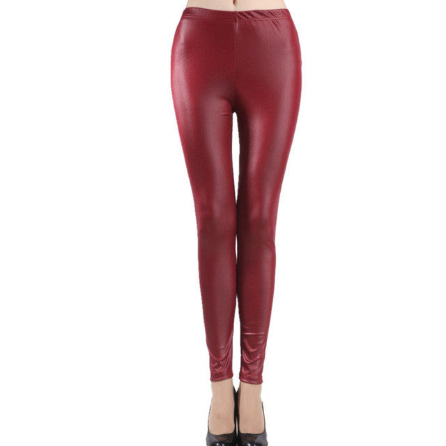 Women's and girl's Imitation Leather Slim Leggings big yards