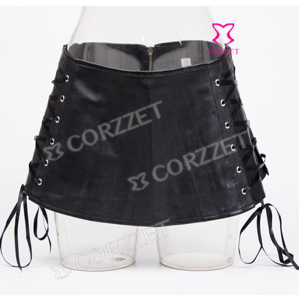 Black Faux Leather Skirt  Lace-Up Side Sexy Pole Dancing Clubwear Mini Skirt Punk Dancedress Skirts Womens Short Skirt Burlesque