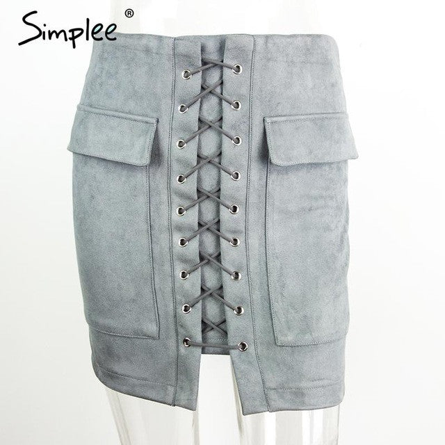 Simplee Apparel Autumn lace up suede leather women skirt 90's